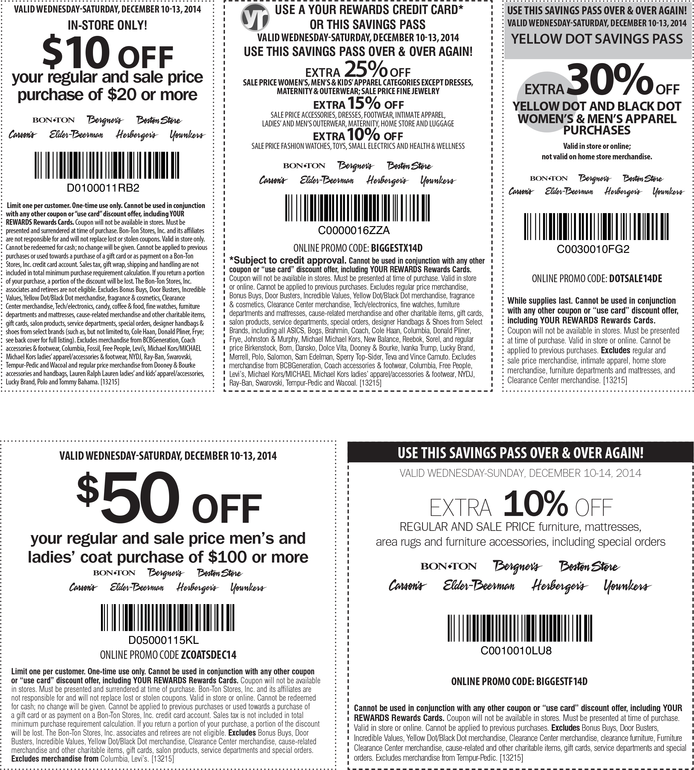Bon Ton Coupon December 2017 $10 off $20 & more at Carsons, Bon Ton & sister stores, or 25% off online via promo BIGGESTX14D