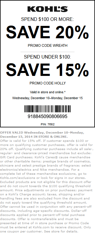 Kohls Coupon February 2018 15-20% off at Kohls, or online via promo code HOLLY