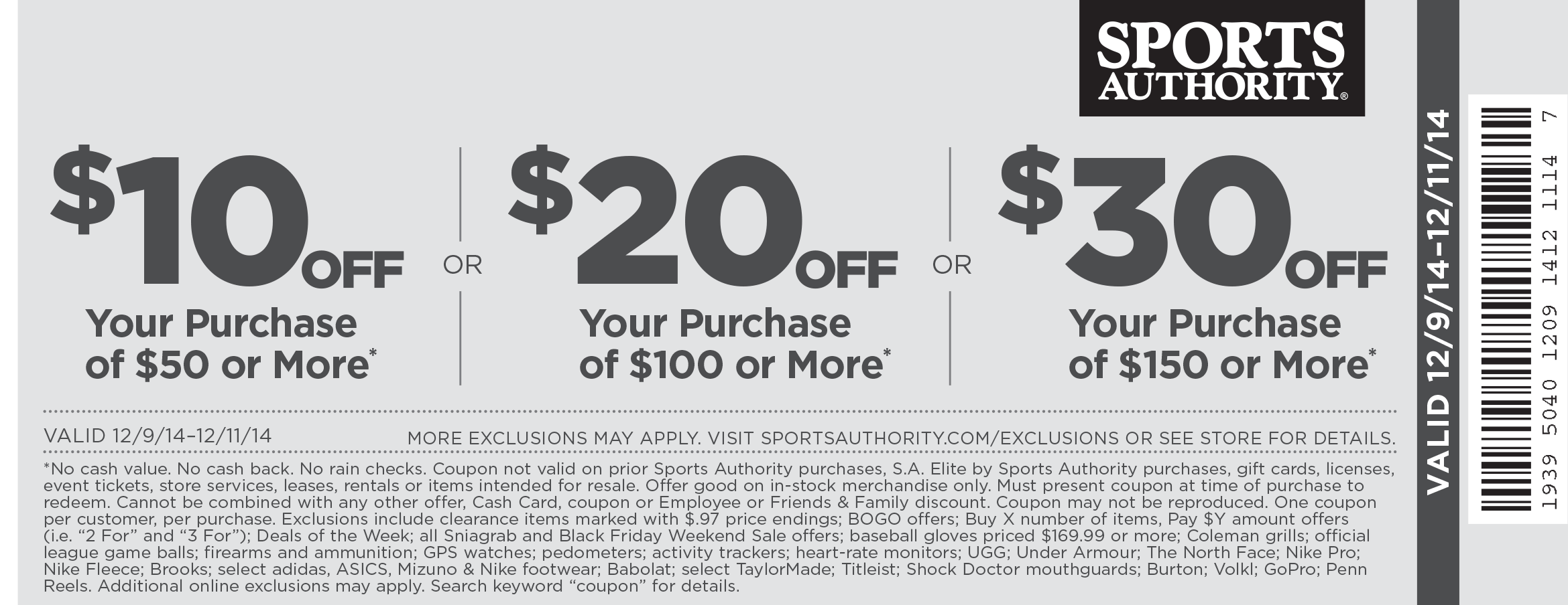 Sports Authority Coupon February 2017 $10 off $50 & more today at Sports Authority, ditto online