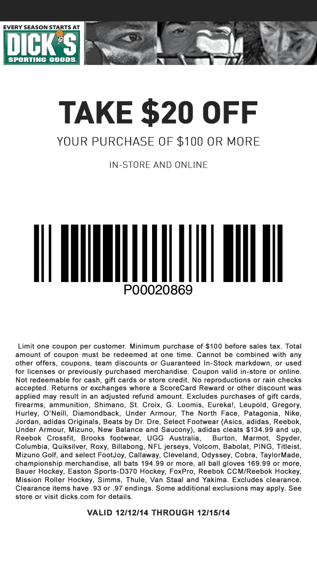 Dicks Coupon June 2017 $20 off $100 at Dicks Sporting Goods, ditto online