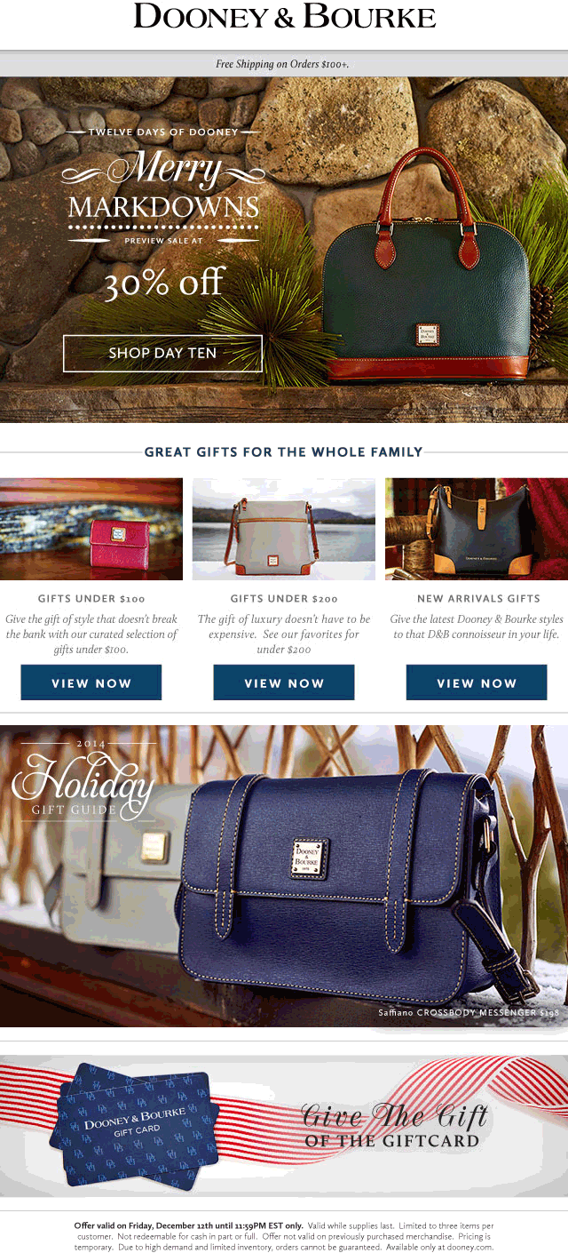 Dooney & Bourke Coupon December 2018 30% off online today at Dooney & Bourke