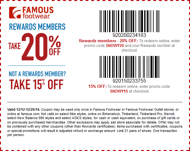 Famous Footwear Coupon December 2017 15-20% off at Famous Footwear, or online via promo code SNOWY15
