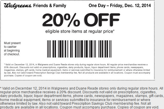 Walgreens Coupon March 2019 20% off today at Walgreens & Duane Reade stores, or online via promo code CHEER20