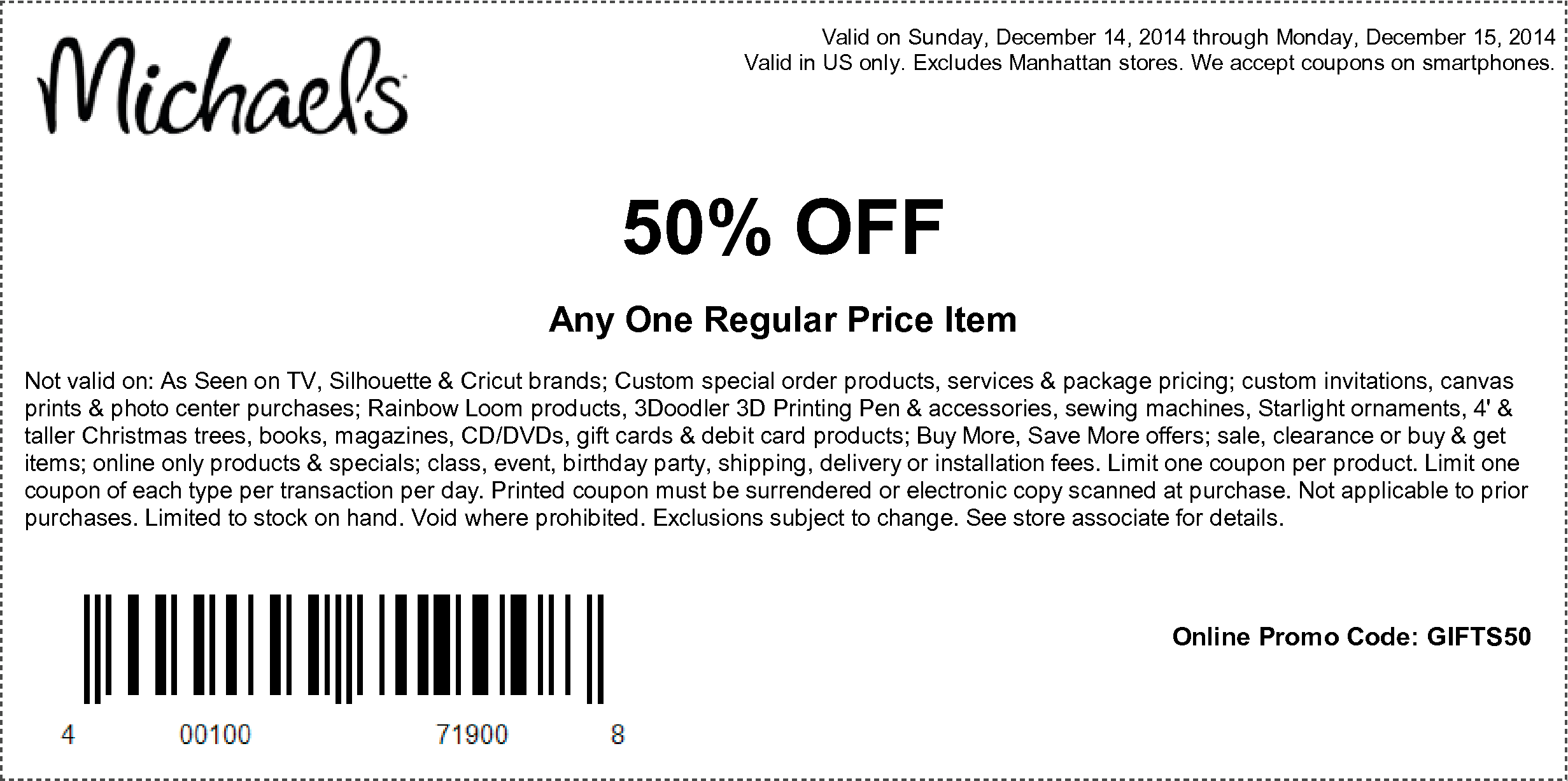 Michaels Coupon November 2018 50% off a single item at Michaels, or online via promo code GIFTS50