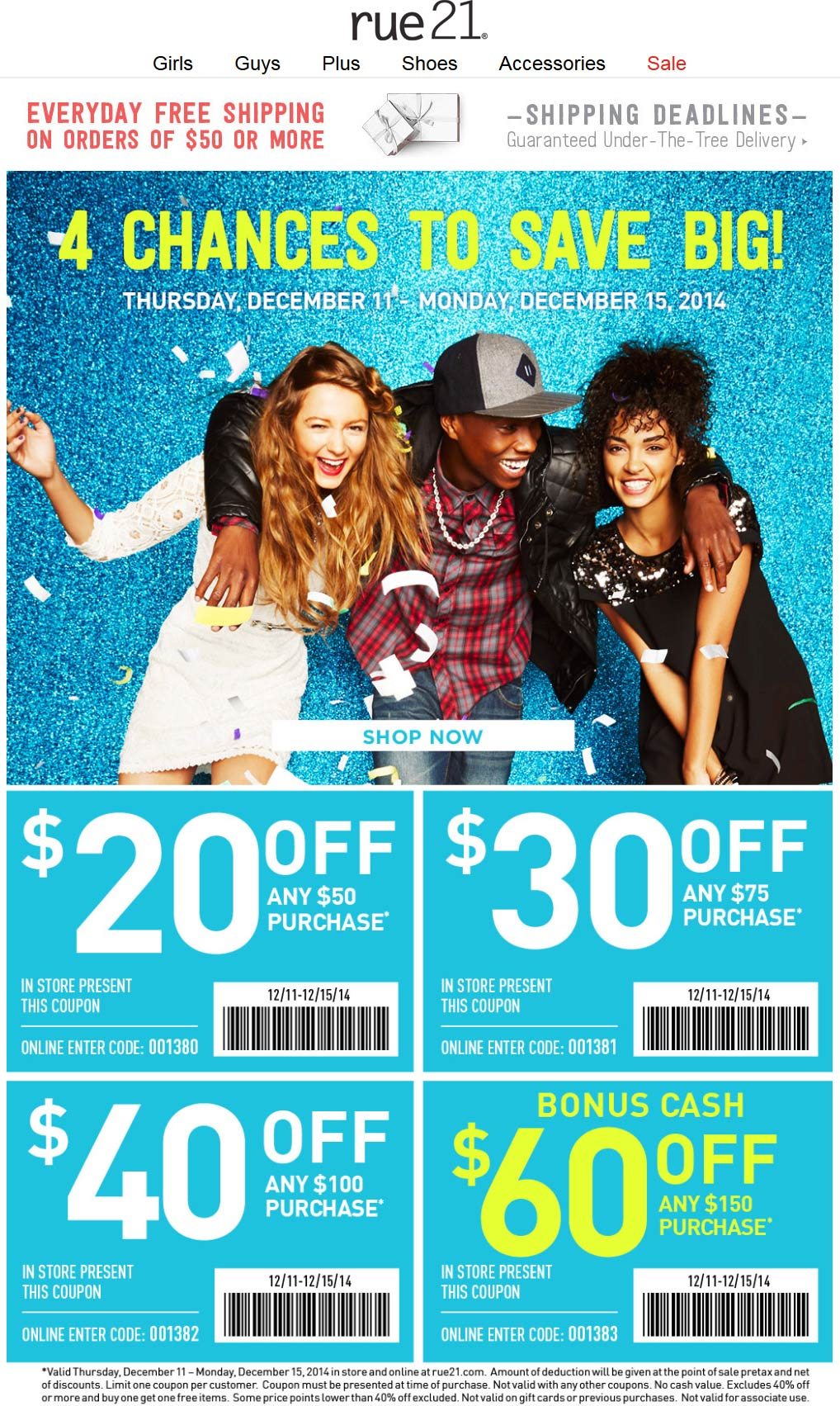 Rue21 Coupon July 2017 $20 off $50 & more at rue21, or online via promo code 001380