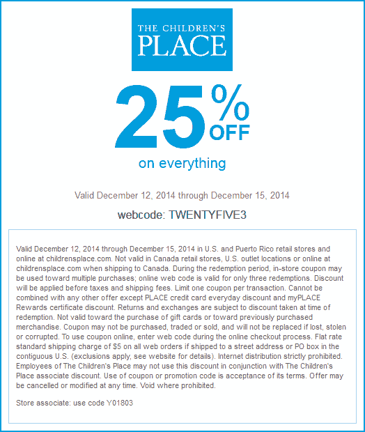 The Childrens Place Coupon November 2017 25% off everything at The Childrens Place, or online via promo code TWENTYFIVE3