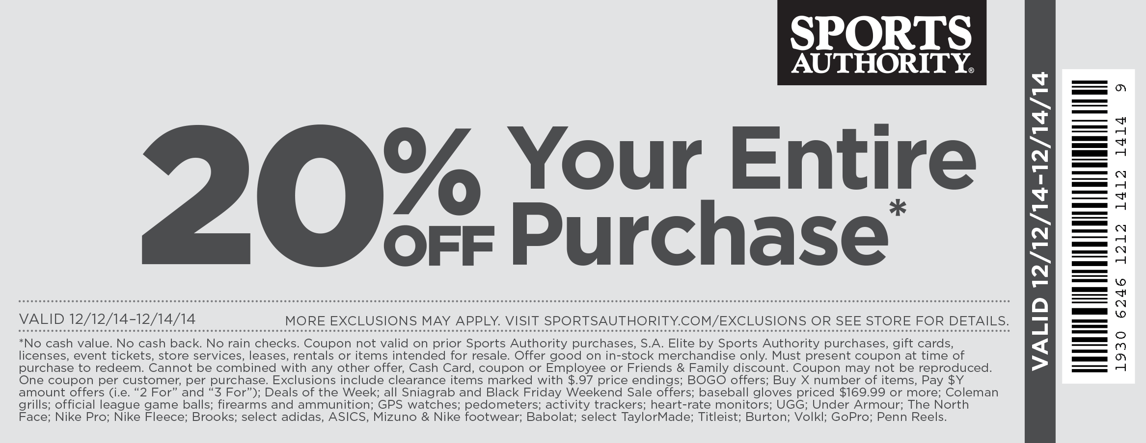 Sports Authority Coupon February 2019 20% off everything today at Sports Authority, ditto online