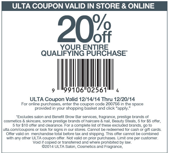 Ulta Coupon January 2017 20% off at Ulta, or online via promo code 200756