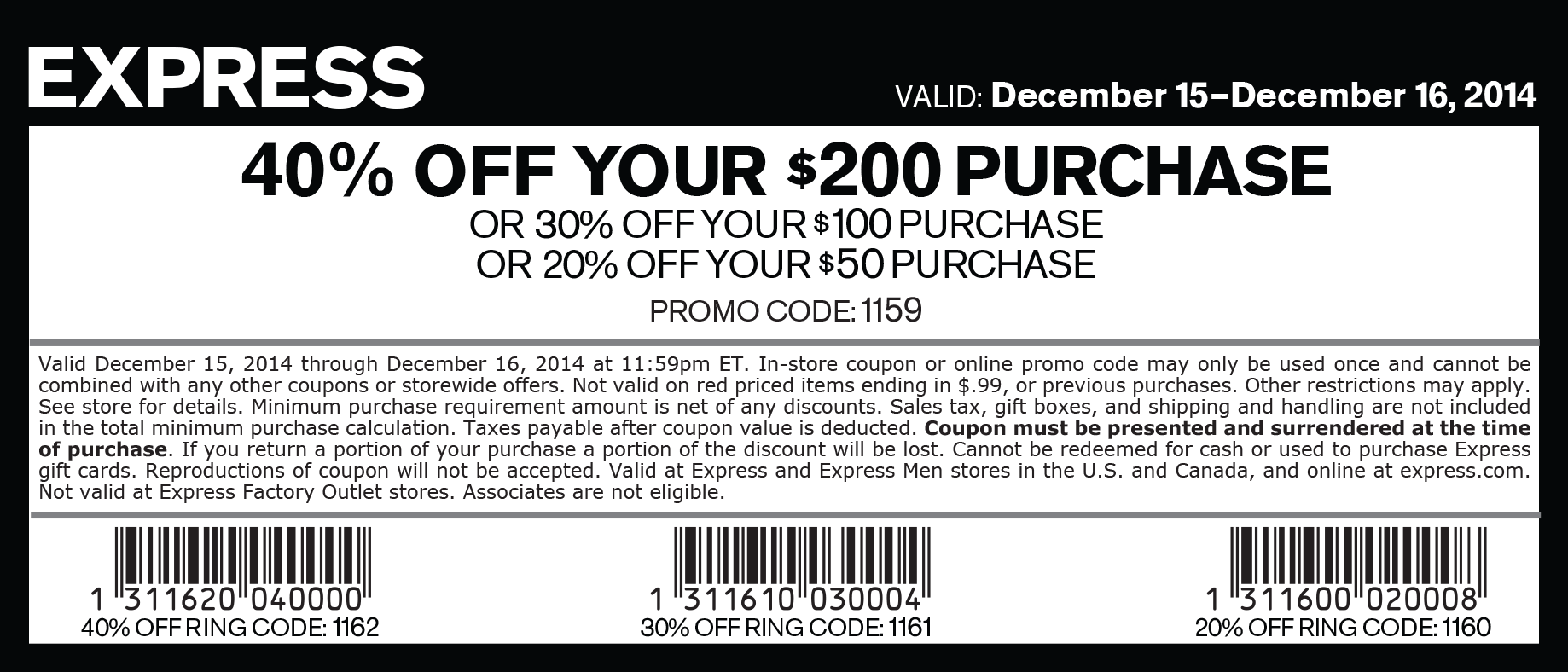 Express Coupon January 2017 20-40% off $50+ at Express, or online via promo code 1159
