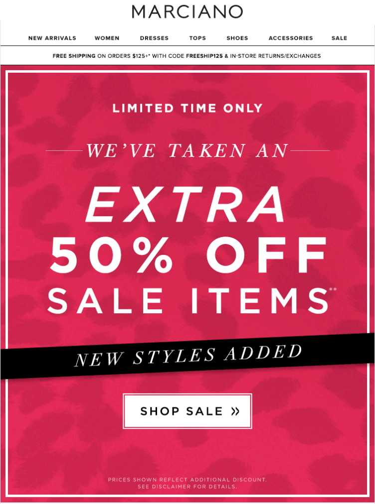 Marciano Coupon September 2018 Extra 50% off sale items at Guess Marciano, or online with free shipping via promo FREESHIP125