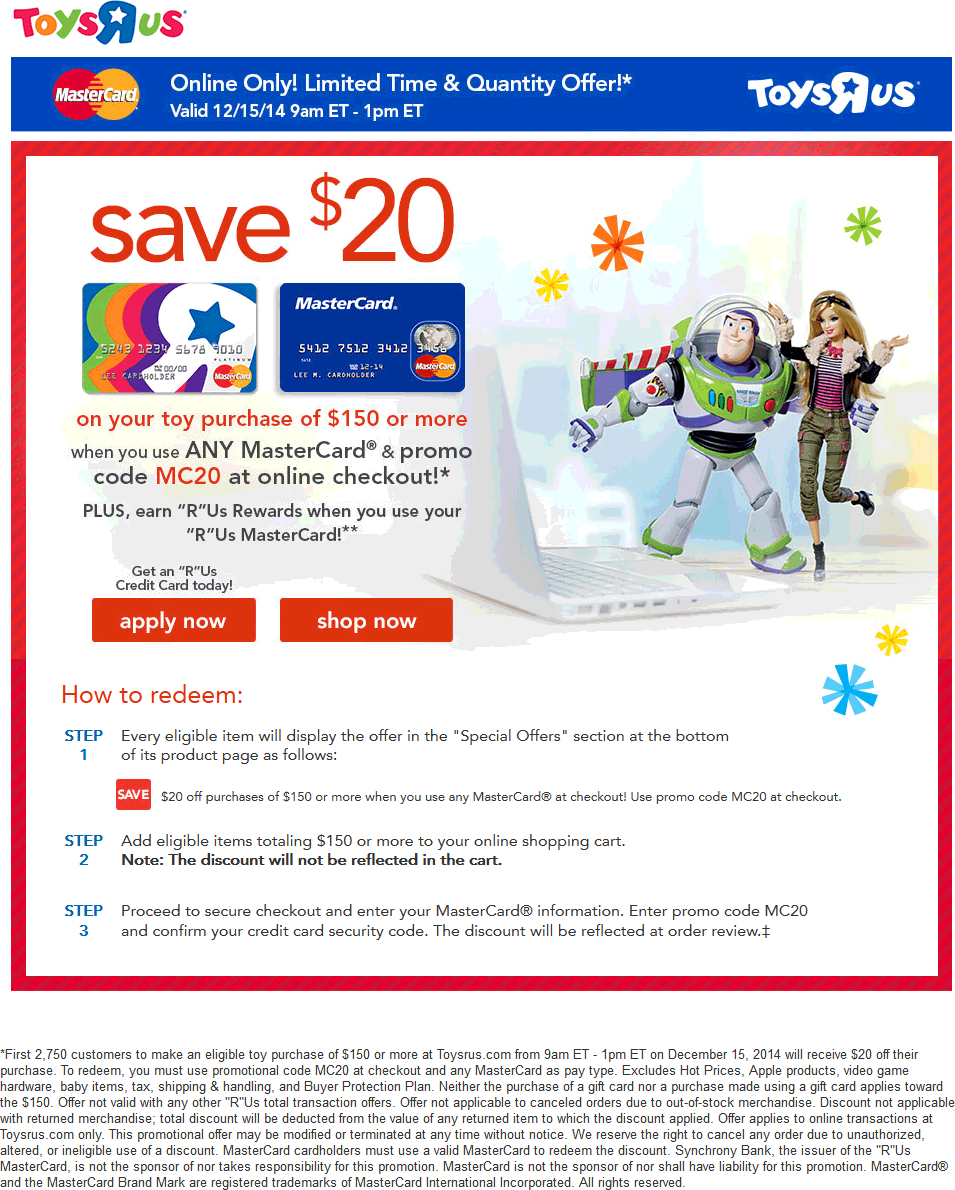 Toys R Us Coupon May 2017 $20 off $150 via specific brand card online til 1pm today at Toys R Us via promo MC20