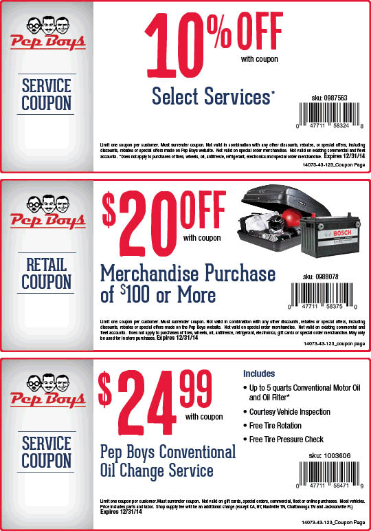 Pep Boys Coupon September 2018 10% off service, $20 off $100 on merchandise at Pep Boys