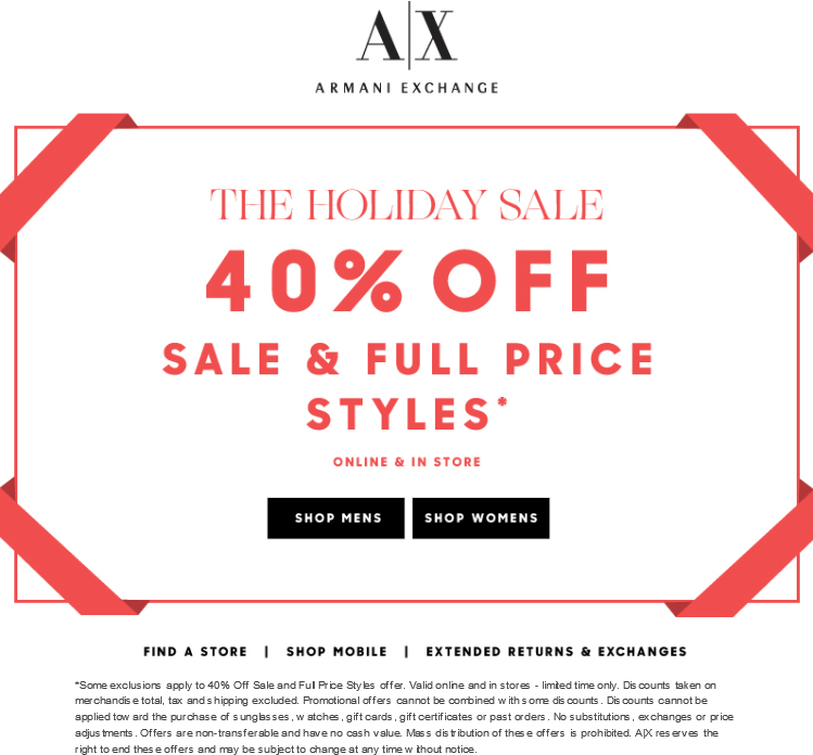 Armani Exchange Coupon November 2018 40% off at Armani Exchange, ditto online