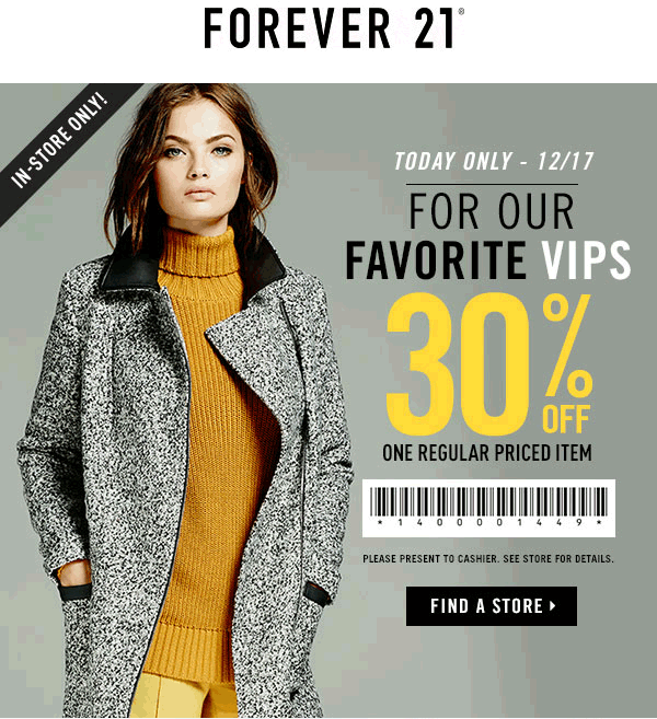 Forever 21 Coupon May 2017 30% off a single item today at Forever 21