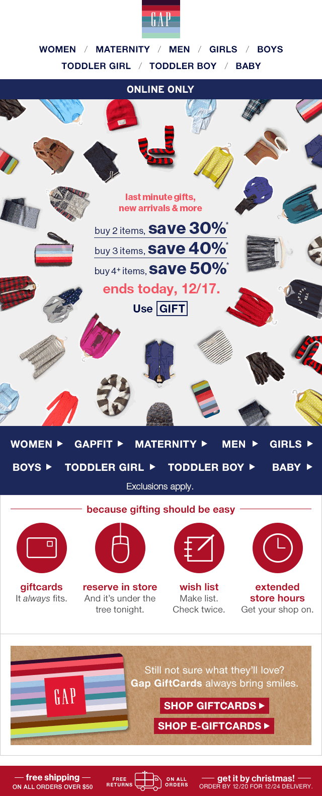 Gap Coupon November 2017 50% off 4+ items online today at Gap