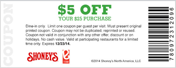 Shoneys Coupon September 2018 $5 off $25 at Shoneys restaurants