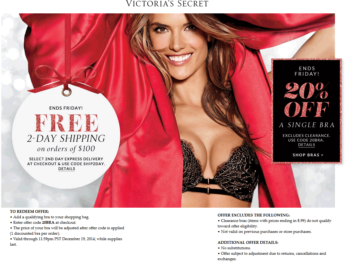 Victorias Secret Coupon April 2018 20% off a single bra online at Victorias Secret via promo code 20BRA