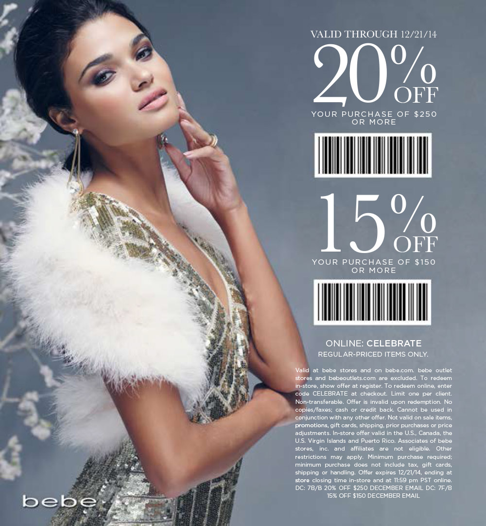 Bebe Coupon December 2016 15% off $150 & more at bebe, or online via promo code CELEBRATE