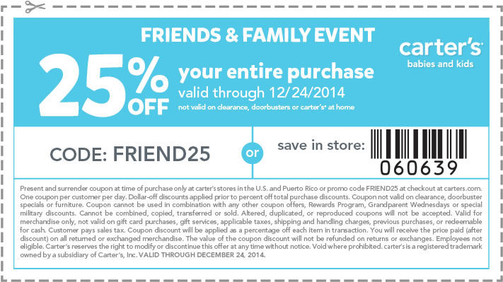 Carters Coupon April 2017 25% off at Carters, or online via promo code FRIEND25
