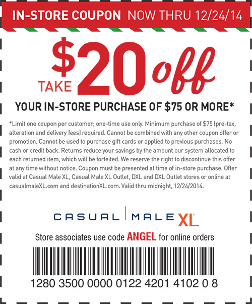 Casual Male XL Coupon March 2018 $20 off $75 at Casual Male XL, or online via promo code ANGEL