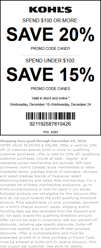 Kohls Coupon April 2017 15-20% off at Kohls, or online via promo code CANES