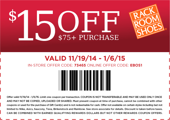 Rack Room Shoes Coupon September 2018 $15 off $75 at Rack Room Shoes, or online via promo code EBOS1