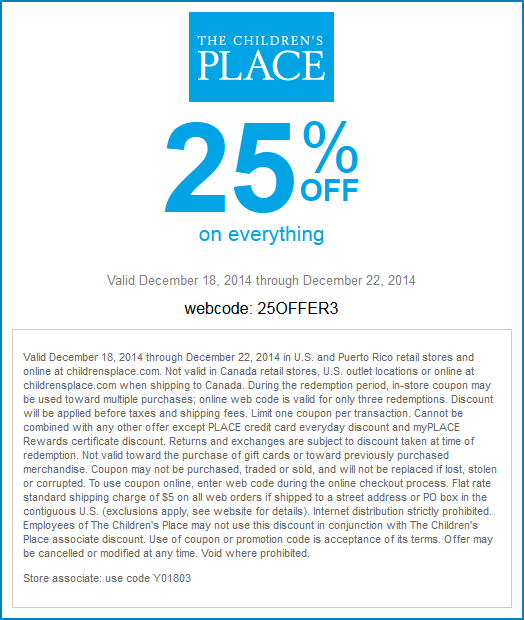 Childrens Place Coupon July 2017 25% off everything at The Childrens Place, or online via promo code 25OFFER3