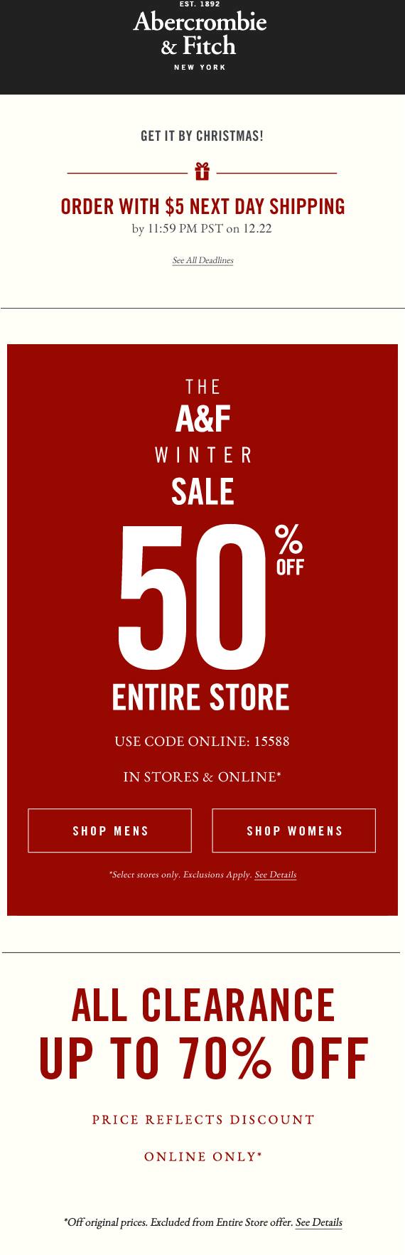 Abercrombie & Fitch Coupon January 2018 50% off everything at Abercrombie & Fitch, or online via promo code 15588