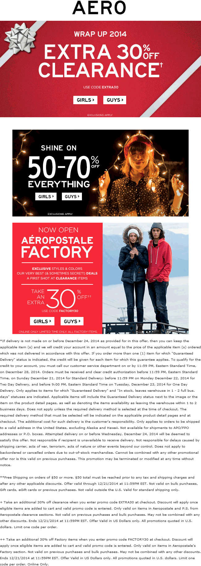 Aeropostale Coupon August 2017 50-70% off everything at Aeropostale, ditto online