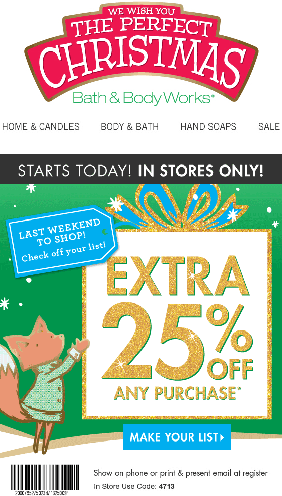 Bath & Body Works Coupon March 2018 Extra 25% off at Bath & Body Works