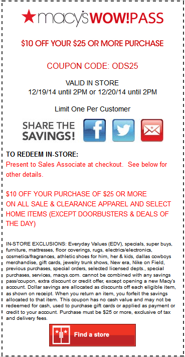 Macys Coupon October 2018 $10 off $25 til 2pm at Macys, or online via prom ocode ODS25