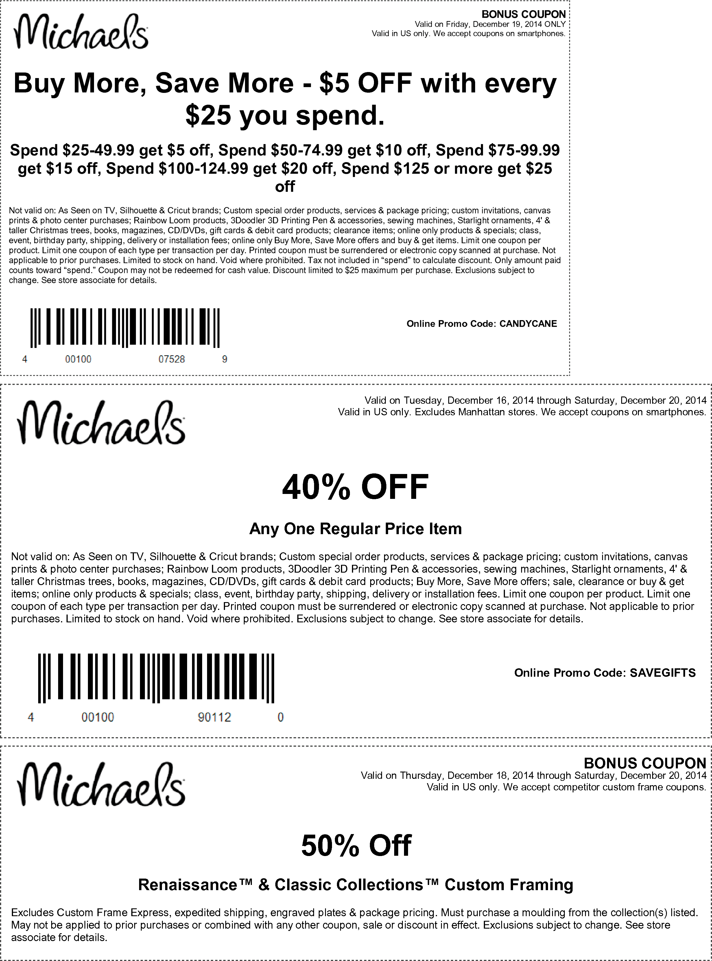 Michaels Coupon August 2019 $5 off every $25 today & more at Michaels, or online via promo code CANDYCANE