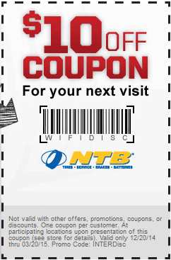 National Tire and Battery Coupon October 2018 $10 off at National Tire and Battery
