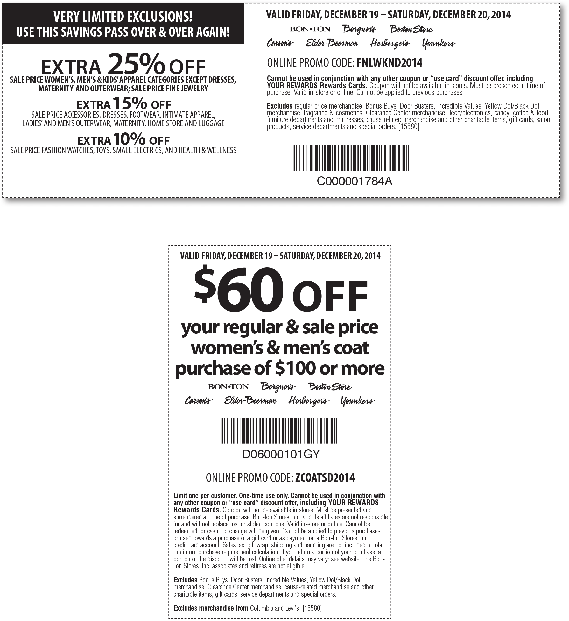 Carsons Coupon December 2016 Extra 25% off sale apparel today at Carsons, Bon Ton & sister stores, or online via promo code FNLWKND2014