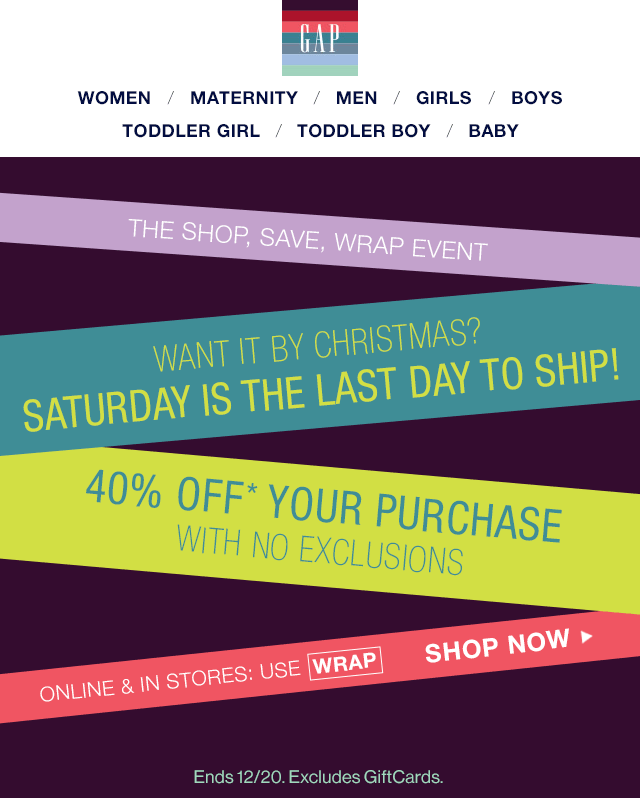 Gap Coupon October 2018 40% off everything today at Gap, or online via promo code WRAP