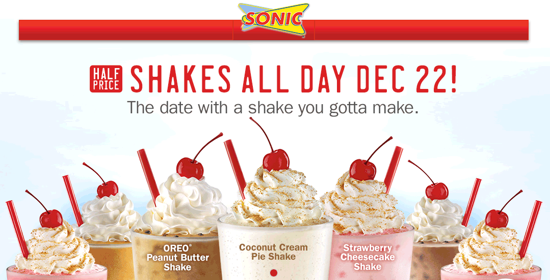Sonic Drive-In Coupon October 2017 50% off shakes Monday at Sonic Drive-In