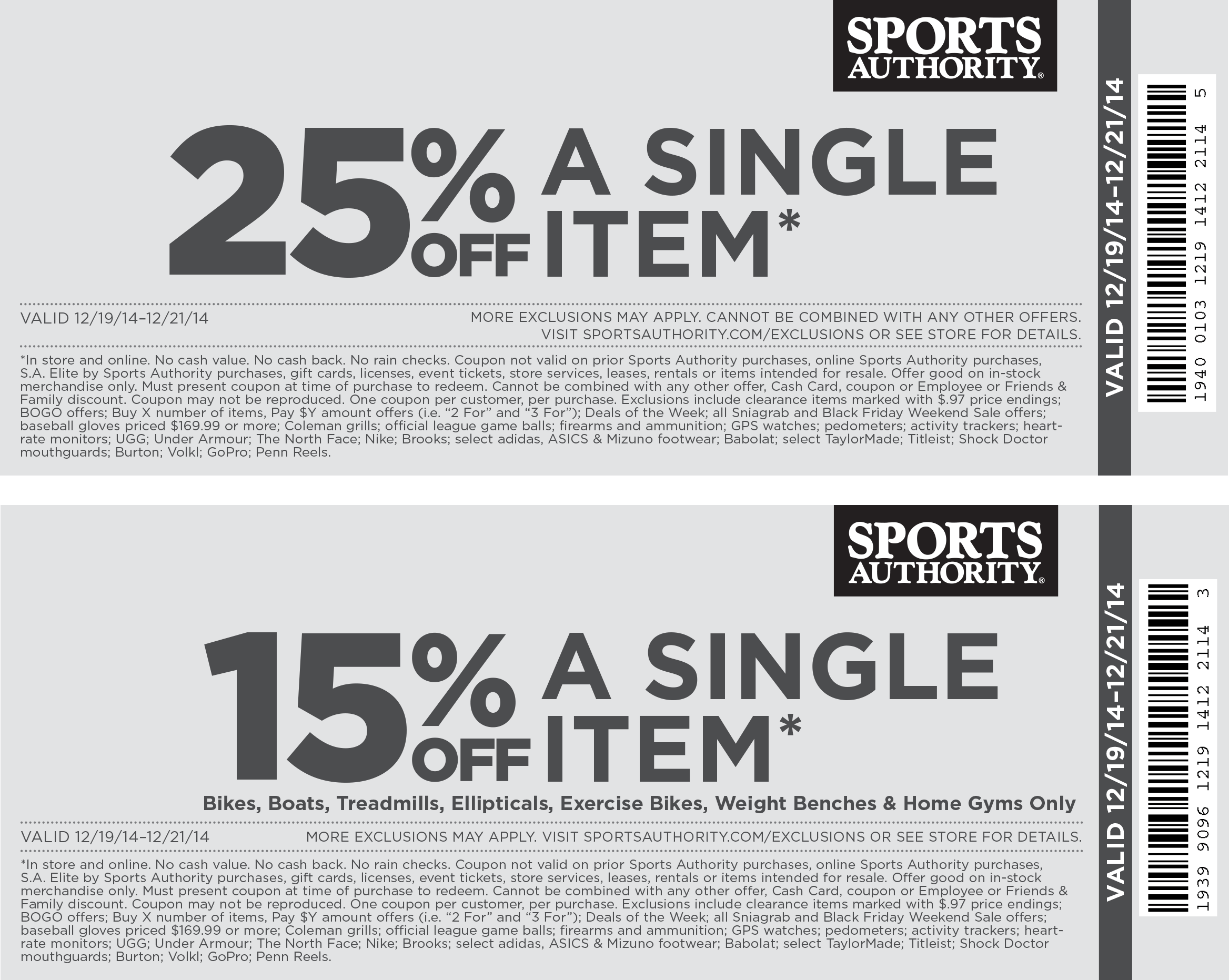 Sports Authority Coupon February 2017 25% off a single item & more at Sports Authority, ditto online