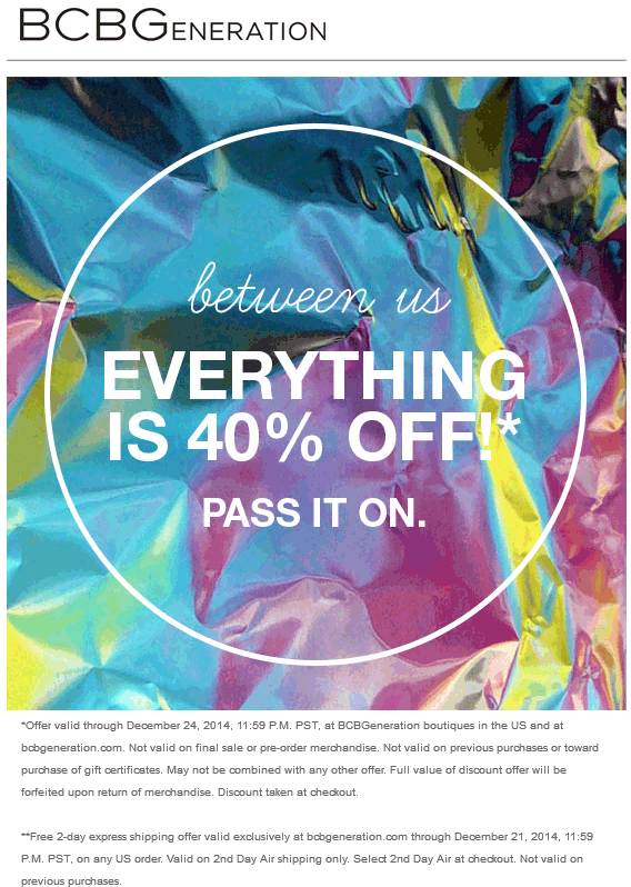 BCBG Coupon December 2016 Everything is 40% off at BCBGeneration, ditto online