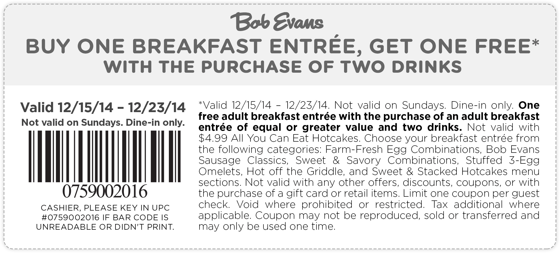 Bob Evans Coupon October 2018 Second breakfast free at Bob Evans