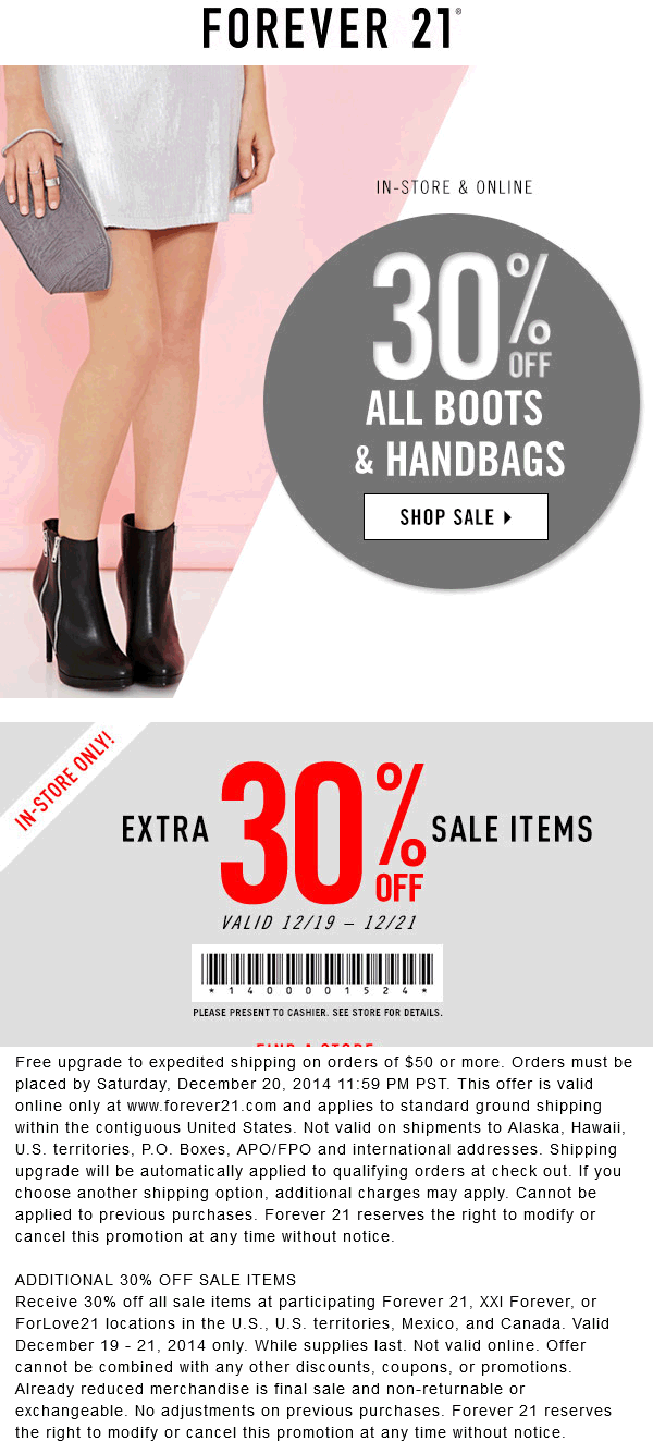 Forever 21 Coupon November 2017 Extra 30% off sale items today at Forever 21