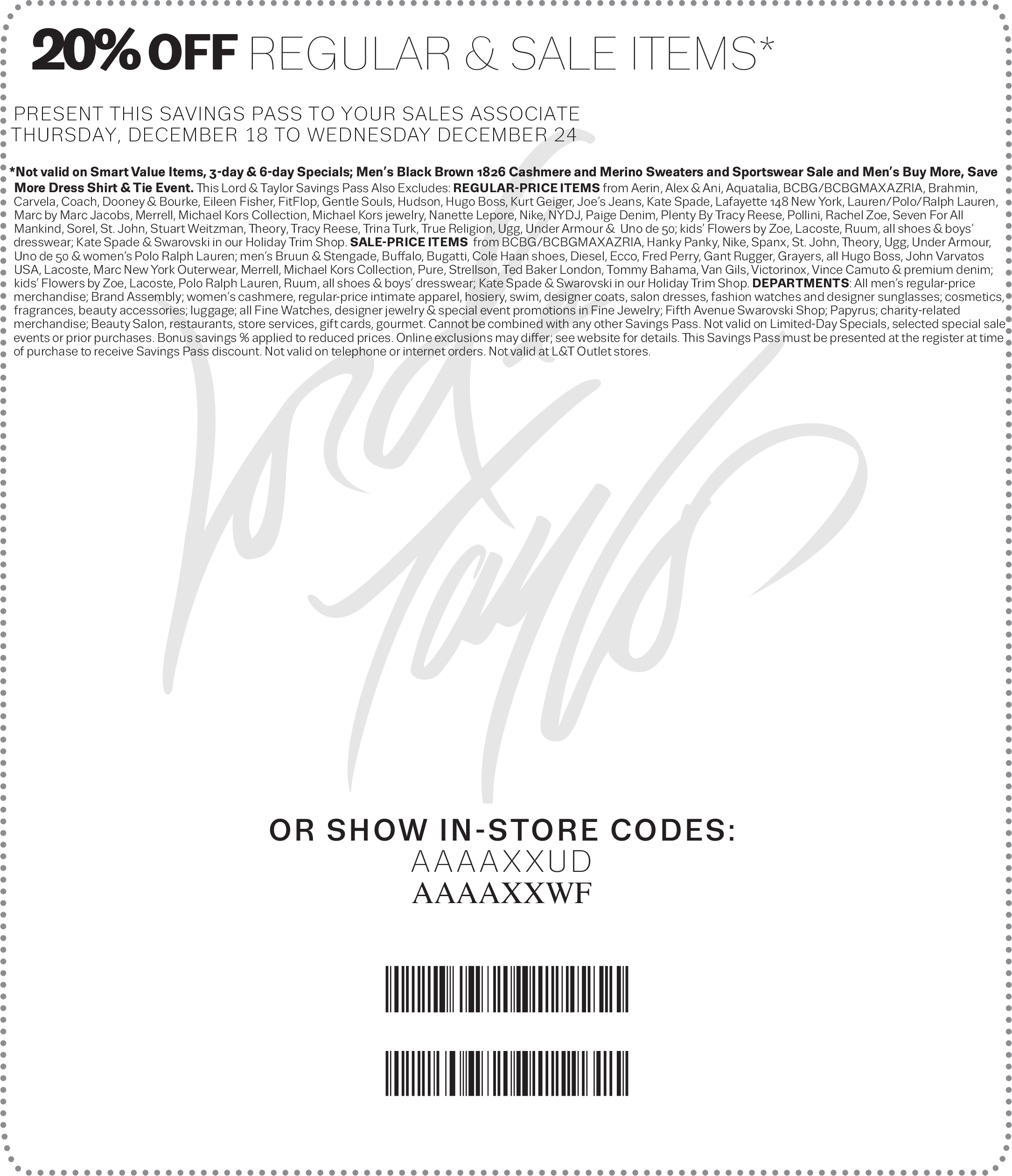Lord & Taylor Coupon October 2016 20% off at Lord & Taylor, or online via promo code GIFT
