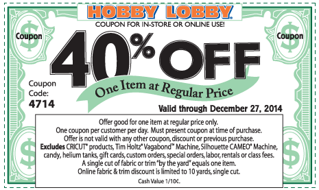 Hobby Lobby Coupon March 2017 40% off a single item at Hobby Lobby, or online via promo code 4714