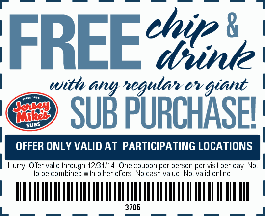 Jersey Mikes Coupon October 2016 Chips & drink free with your sub at Jersey Mikes