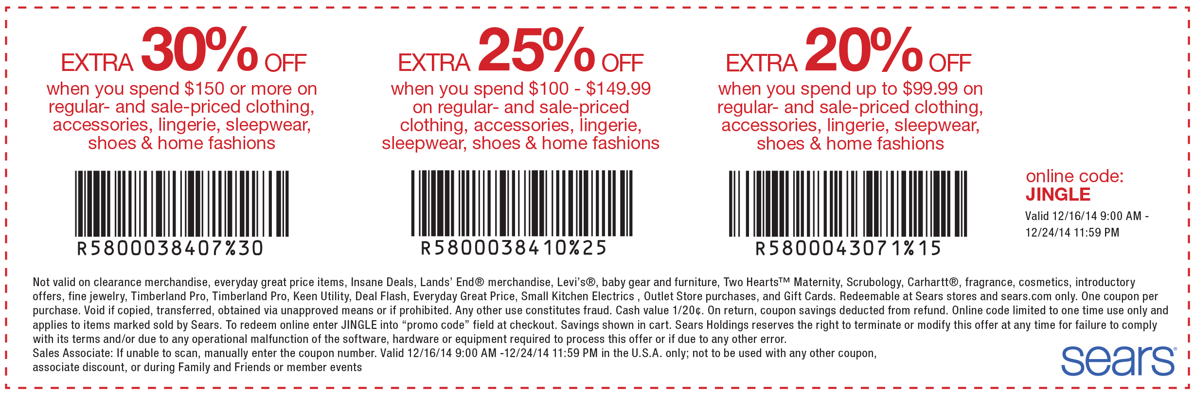 Sears parts coupon code 20