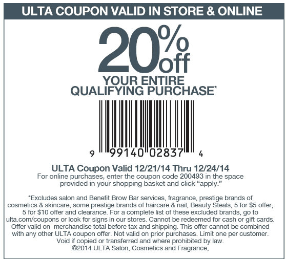 Ulta Coupon December 2017 20% off at Ulta, or onine via promo code 200493