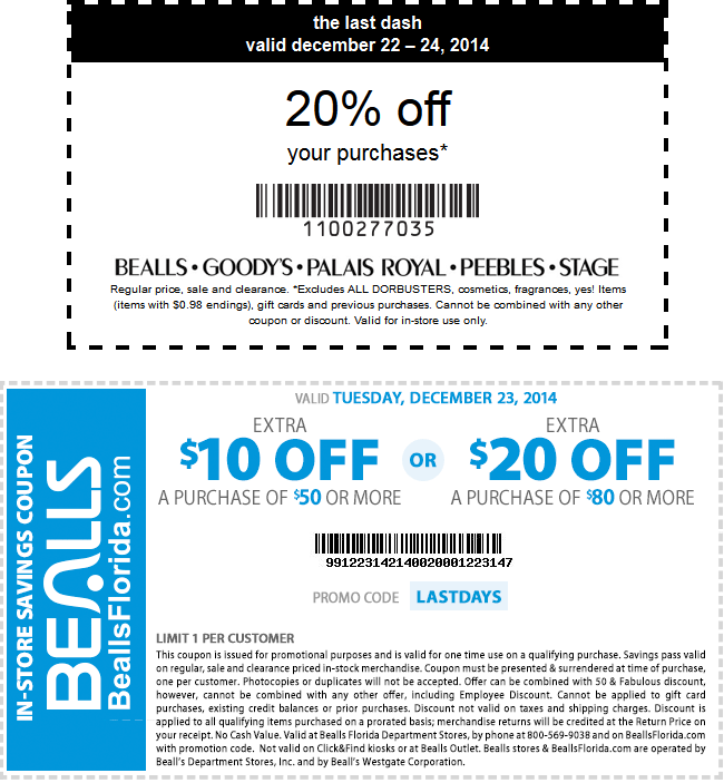 Bealls Coupon December 2018 20% off & more at Bealls, Goodys, Palais Royal, Peebles & Stage Stores, or online via promo code 20247