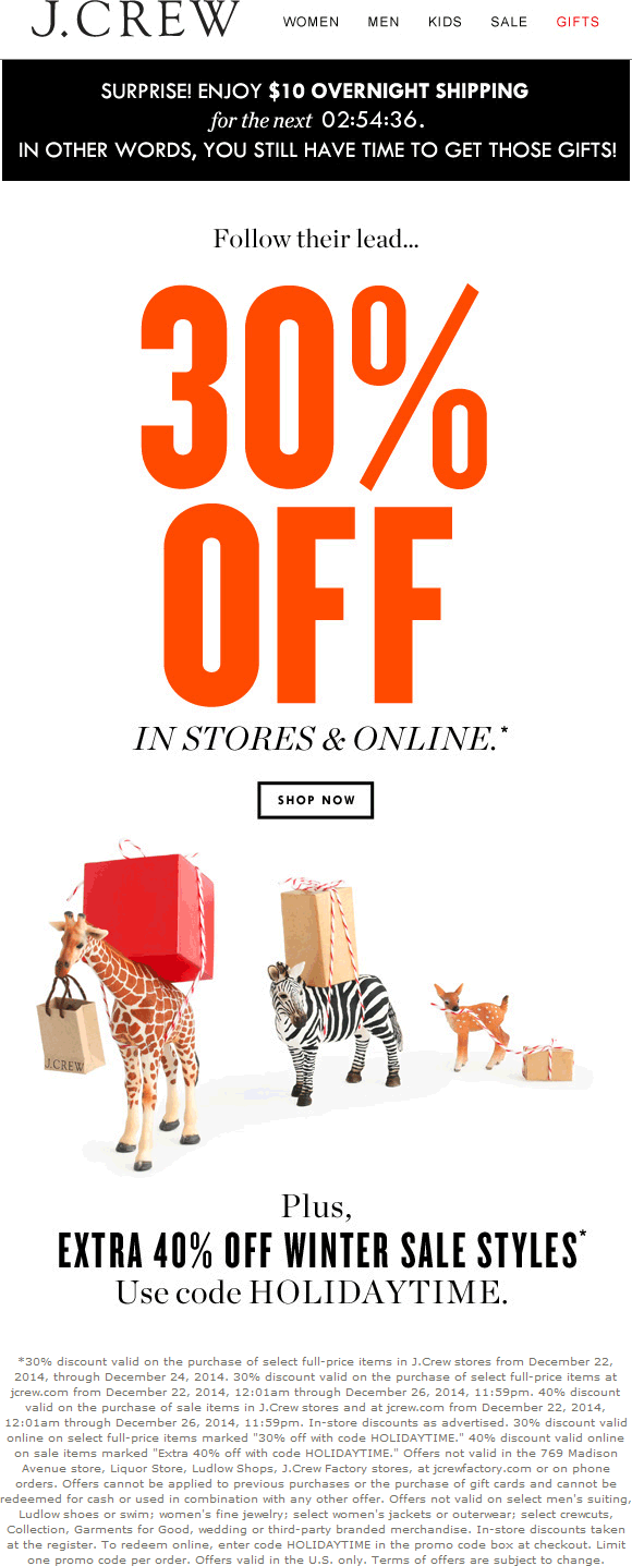 J.Crew Coupon January 2018 30% off at J.Crew, or online via promo code HOLIDAYTIME