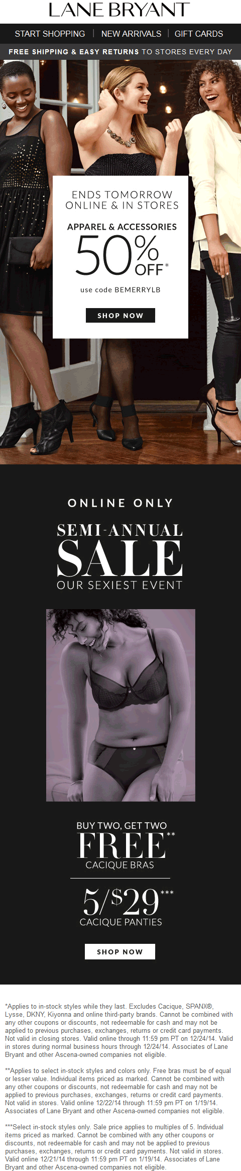 Lane Bryant Coupon April 2019 50% off at Lane Bryant, or online via promo code BEMERRYLB