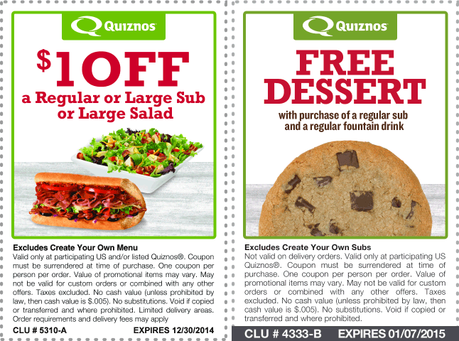 Quiznos Coupon April 2017 Free dessert or $1 off your sub at Quiznos
