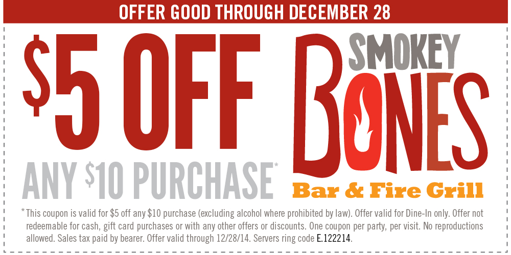 Smokey Bones Coupon November 2018 $5 off $10 at Smokey Bones bar & grill